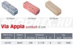 Frühwald Via Appia térkő - 7x21x6 cm - titánpiros