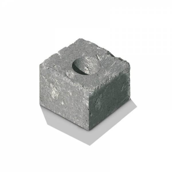 """Semmelrock Castello kerítés """"félkő"""" 20x20x14 cm szürke-fekete"""
