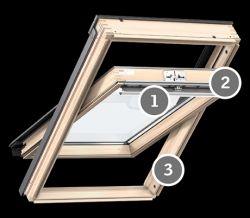Velux GZL 1050 Standard tetőablak felső kilinccsel - 94x140 cm