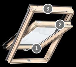 Velux GZL 1050 B Standard tetőablak alsó kilinccsel, magas térdfal esetén - 94x140 cm