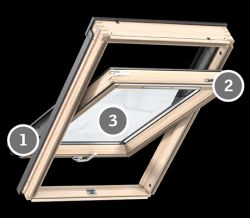 Velux GLL 1055 B Standard Plus tetőablak alsó kilinccsel, magas térdfal esetén - 78x140 cm