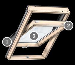 Velux GLU 0055 Standard Plus tetőablak felső kilinccsel, karbantartás nem igénylő felülettel - 66x118 cm